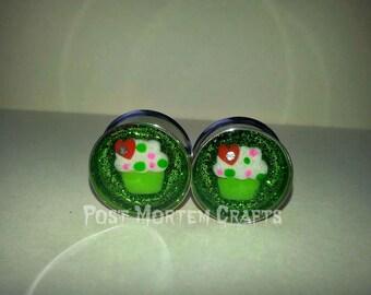 Green glitter Cupcake plugs