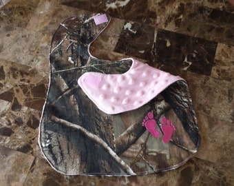 Camo and Pink Feet Embroidered Infant Baby Bib with Soft Pink Minky Backing