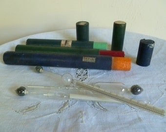 Antique French Hydrometers Sirop/acid/alcohol in original cases from the method of Gay Lussac