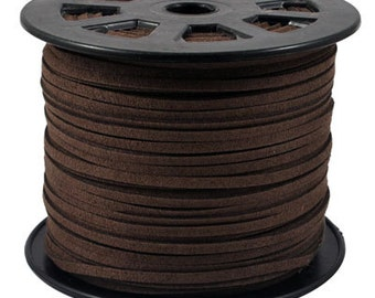 15ft Chocolate Brown Faux Suede Cord 3mm ( No.015)