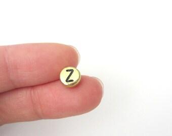 "50pcs Flat Round Alphabet /Letter ""Z"" Acrylic Spacer Beads, Gold Tone"