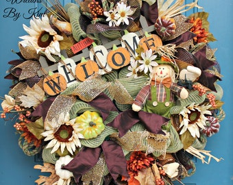 Fall Wreath, Welcome Fall wreath, Autumn wreath, Deco mesh wreath, Scarecrow wreath Fall, Fall deco mesh wreath