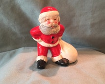 Vintage Bone China Santa Claus and Present Gift Sack Figurine. Grey Beard St. Nicolas for Home Room Office Decor Decoration or Vintage Craft