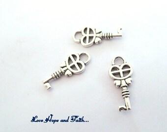 1 charm key FUNNY SILVER