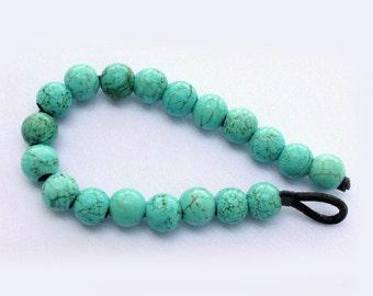 1 strand Large Hole Turquoise Howlite Beads 12mm Round with big 4mm hole
