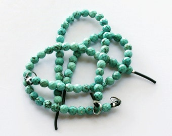 1 strand Large Hole Turquoise Faceted Beads 10mm Round with Big 2.5mm Hole