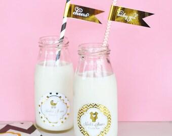 Personalized Metallic Foil Milk Bottles - Baby Shower - 24 pieces