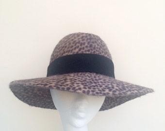 Luxurious Animal Print Fedora Hat in Peach Bloom Fur Felt.  Hand blocked, hand stitched, hand made.
