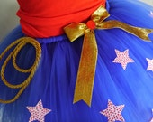 "Wonder Woman Halloween Costume Adult Plus Size Tutu Skirt 15"" LONG Knee length outfit Superhero  Gift Captain America Hulk ANY Character"