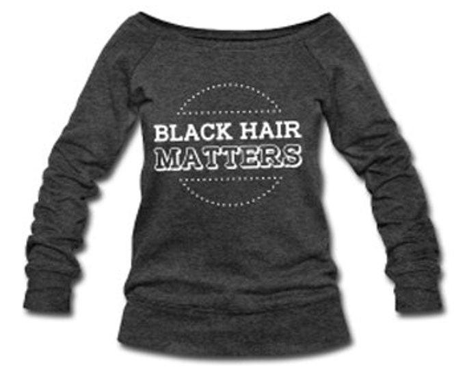 Black Hair Matters Wide Neck Off Shoulder Slouchy Women's Sweatshirt - Dark Gray