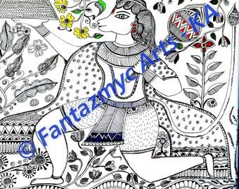 Madhubani Art - Hanuman