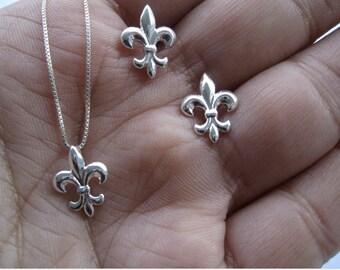 Fleur de Lis  Earrings  Sterling Silver - Stud earrings ( Earrings only)