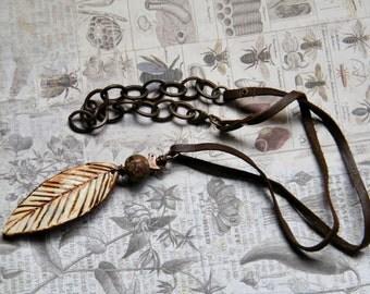 NEW! Tiny Bird, Fall Jewelry, Fall Necklace, Lampwork by PinkBeach, Ceramic Leaf by SuzieQbeads