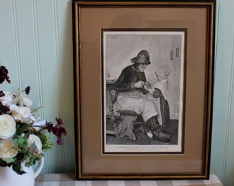 Wonderful framed antique print of a tradesman and child