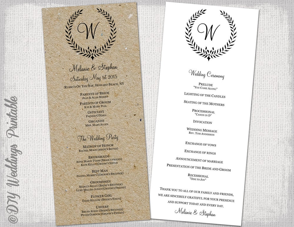 Wedding program template Rustic black Leaf Garland – Printable Program Templates