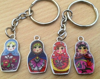 A Lovely Russian Doll - Matryoshka Enamel Keyring - 4 designs