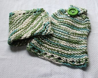 Handmade Hand Towel & Dish Cloth - Matching Set - Hand Knit - 100% Cotton - Emerald Isle