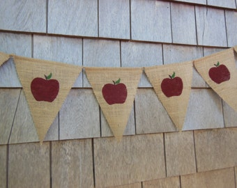 Fall Decor, Apple Decor, Apple Banner, Apple Garland, Apple Bunting, Thanksgiving Decor, Rustic Fall Banner, Garland, Burlap Banner Bunting
