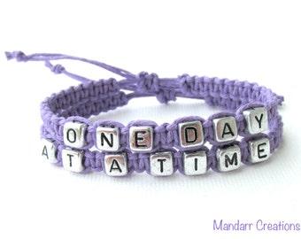 One Day at a Time Bracelet Set, Lavender Purple Handmade Hemp Jewelry, Recovery Bracelets