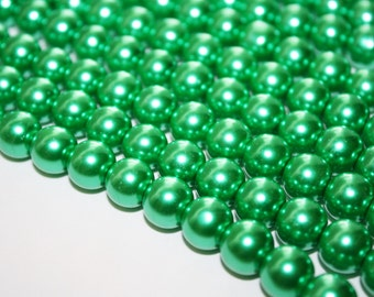 Kelly Green Glass Pearls Beads - 10mm - 43ct