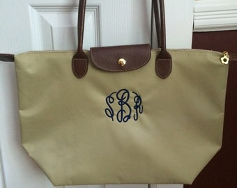 Large Monogram Champ Tote Bag - Monogrammed Nylon Handbag- Makes a great bridesmaid gift, bridal party gift
