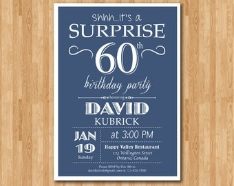 Surprise 60th Birthday Invitation. Blue, Red, Green Black Any Color. 40th 50th 60th 70th 80th 90th Any Age. Digital Printable.
