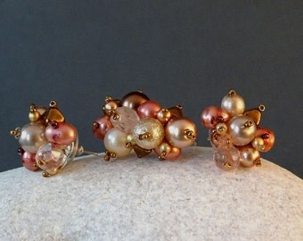 Ring + Earstuds Set//Pearl//Bronze//Cream//Pink//Free Shipping