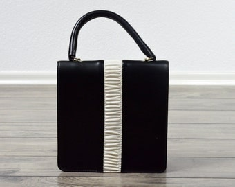 80's Vintage Handbag/ Black and White Purse