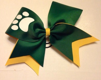 Paw print cheer bow - dark green and gold ribbons with white paw print