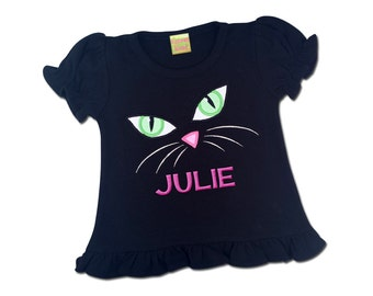 Girl's Halloween Shirt with Spooky Black Cat Face and Embroidered Name