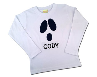 Boy's Halloween Shirt with Funny Ghost Face and Embroidered Name