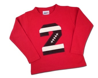 Boy's Red Football Birthday Shirt with Football Number and Name