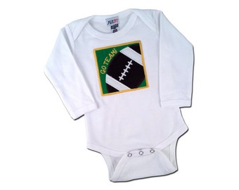 Baby Boy Football Bodysuit with Embroidered Name - Customizable Colors