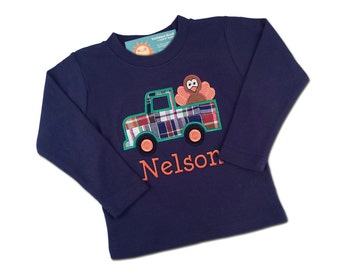 Boy's Thanksgiving Shirt with Turkey in Truck and Embroidered Name - M24