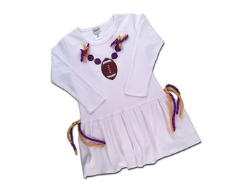 Girl's Football Dress with Purple and Yellow Corker Ribbons and Bling - Customizable Colors