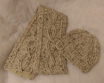 Cabled Scarf and Beanie Set