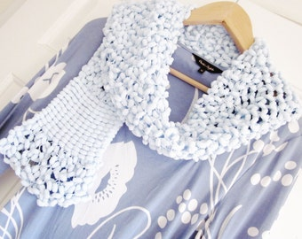 Knitted scarf, Lacy knitted scarf, Pastel blue knit scarf, Wool Scarf, Blue soft Scarf, Handknit Scarf, Pastel blue Scarf, Blue Scarf  619