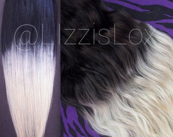 """Gorgeous Tape IN 100% REMY Human Hair Extensions 20"""" Black to Blonde Blond Ombre Dip Dye Balayage 100-200g Perfect for DIY dyeing!"""
