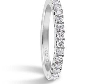 18k White Gold Diamond Wedding Band .32ct Round Diamond Band Wedding Band Anniversary Band Wedding Ring Pristine Custom Rings