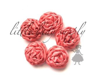 Coral Ruffled Rosettes - Set of 5, wedding, satin, decor, embellishment, diy, craft, supply