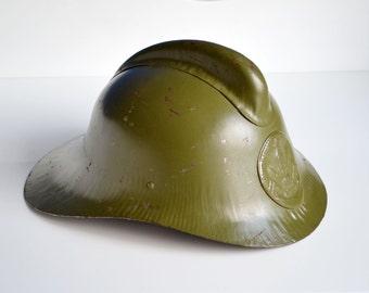 Vintage Fireman Helmet, Soviet Fireman Helmet, Metal Helmet, Figherfighter Helmet, Fireman Hard Hat, Gift for Him, Man Cave Decor Retro