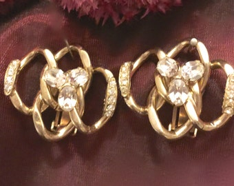 Vintage  Crystal Rhinestone Gold Tone Earrings Designer Kofin.