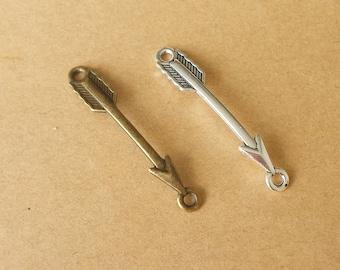 20 pcs 5x37mm Antique Bronze arrow Charm, Antique Silver arrow Pendant Bracelet Connector  ABT030