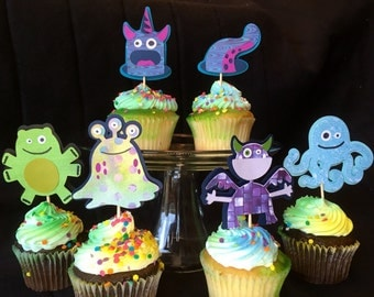 12 Halloween monsters cupcake picks, not so scary! Monster bash, monster party