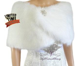 Faux Fur Wrap, White Bridal Fur Stole, Bridal Cape, Fur Shawl, Fur, Wedding Stole, Bridal Wrap, Bridal Stole, Fox Fur FW108-WHI