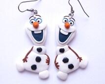 Snowman Olaf Frozen Elsa Disney Movie Inspiration Tv White Winter Snowflake Jewelry Fantasy Toy Unique Fun Film Character Earrings Jewelry