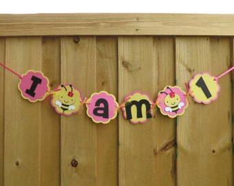 "Girl Bumble Bee - ""I am 1"" High Chair Banner - Hot Pink, Yellow, and Black"