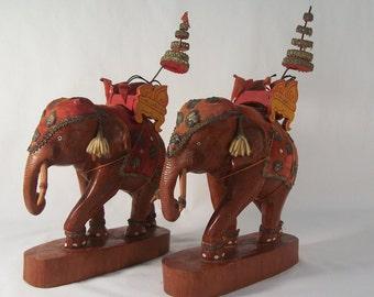 Vintage Wood Elephants Pair          S774