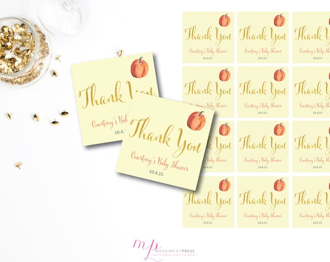 Pumpkin and Gold Foil Favor Tags Bridal Baby Shower Wedding Labels Rehearsal Thank You 2.5 DIY Printable or Printed - Pumpkin