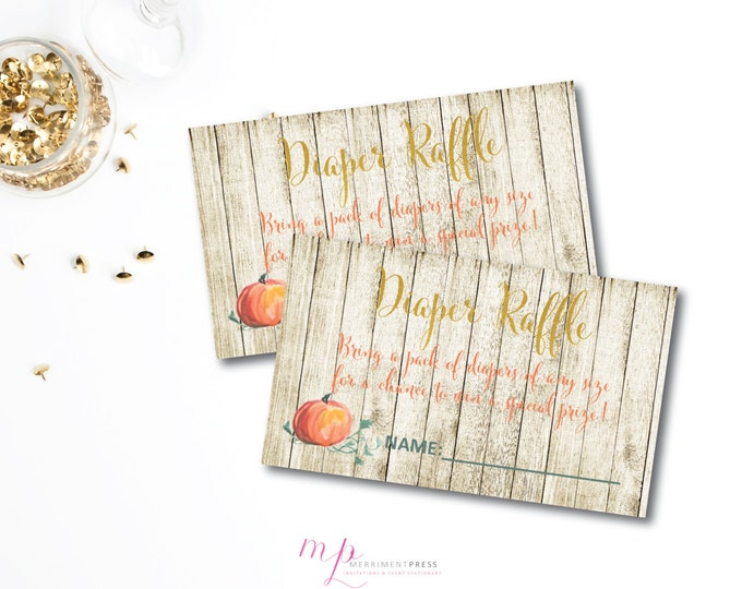 Little Pumpkin Diaper Raffle Ticket INSTANT DOWNLOAD Wood Baby Shower Watercolor Pumpkin Gold Foil Calligraphy -Pumpkin